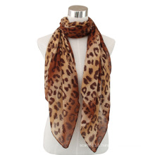 Lady Fashion Leopard Printed Cotton Voile Scarf (YKY4074-1)