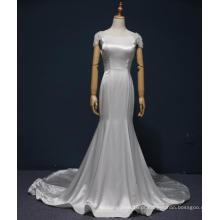 Vestidos de casamento nupcial de sereia de cetim de manga tampada