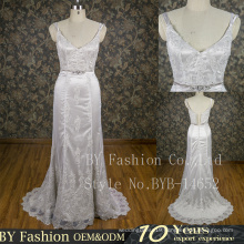 Latest high quaity lace skirt spaghetti straps Hand Beaded zip up delicate party Dresses