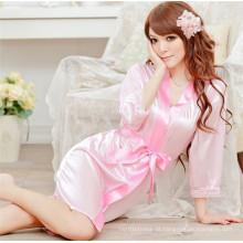 Sexy Mulheres Satin Lace Robe Pijamas Lingerie Nightdress G-String Pijamas