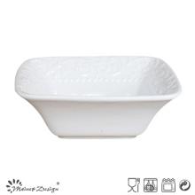 Cuenco cuadrado de gres blanco de cerámica