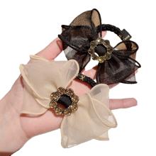 Korean Yarn Bow Knot Hair Tie Rhinestone Elastic Band Ring Cute Girl Ponytail Head Rope Rubber Female Fashion Accessories