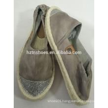Glitter toe cap new design espadrille flat jute sole women's shoe