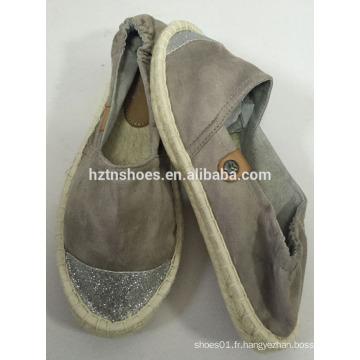 Glitter toe cap nouveau design espadrille plat jupe unique femme chaussure