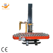 Stretch film pallet wrapper with roller conveyor