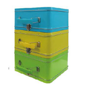 Candy color tin box with handle