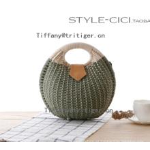 Tri-tiger Tote Handbag Summer Beach Small Brand Straw rattan Bags