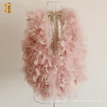 Pêlo real da pena da rosa da forma da menina da menina com veste da pele de peru