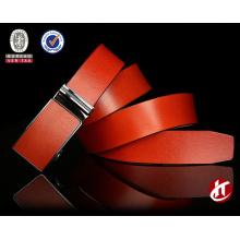 Fashion orange/black automatic buckle genuine leather belt