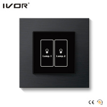 2 Gangs Lighting Switch Touch Panel Aluminum Alloy Outline Frame (HR1000-AL-L2-B)