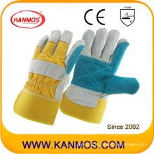 Doble piel de vaca de la mano dividida seguridad industrial mano cuero guantes de trabajo (110151)