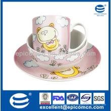 Fábrica atacado 3pcs cerâmica porcelana jantar definido para crianças com decoração cartoon
