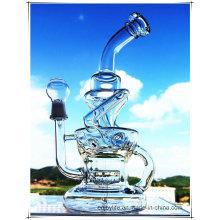 Hb-K51 Reciclador Inline Perc Irregular Fuente Forma De Vidrio Fumar Tubo De Agua