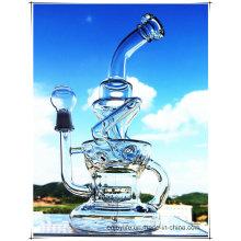Hb-K51 Recycler Inline Perc Нерегулярная форма фонтана Стеклянная дымовая водопроводная труба