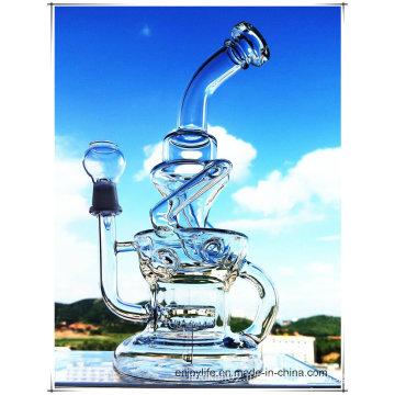 Hb-K51 Recycler Inline Perc Irregular Fountain Shape Glass Smoking Water Pipe