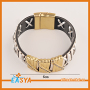 Men Wide Leather Gold Bracelet Magnetic Clasp Handmade direct factory wholesale bracelet