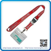 Lanière de support de carte d'identification d'impression d'écran en soie avec le crochet en métal / boucle ajustable
