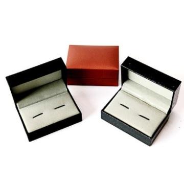 caixa de abotoaduras de papel de couro para embalagem de anel
