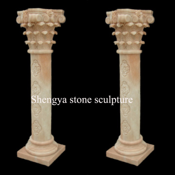 Escultura de mármol beige de la piedra de la columna (SY-C024)