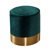 Home Furniture Golden Metal Base Stool Green Velvet Round Ottoman For Living Room