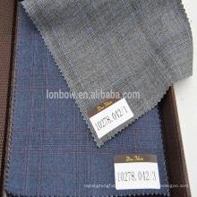 Super110's 100% Wolle Gery / Marineblau Plaid Stoff