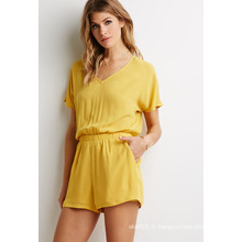 Dolman Nipped-in Elasticized Waist Button Craft Back V-Neck Romper