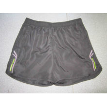 Yj-3015 Mens Black Lined Microfiber Short Sports Running Leisure Pants