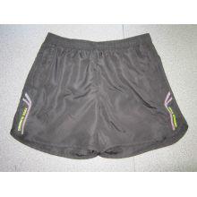 Yj-3015 mens preto alinhado microfibra curta esportes Running lazer calças