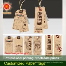 étiquettes volantes en papier kraft pour les jeans