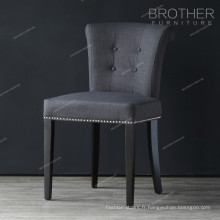 Mobilier de luxe tissu moderne coussin bois roi trône chaise avec anneau