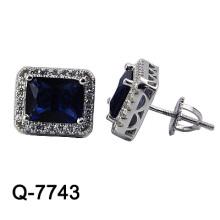 Серьга стержня способа 925 серебряная микро вымощает стержень (Q-7743. JPG)
