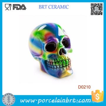 Glaze grand crâne moulé en céramique Tirelire Banque Halloween cadeau