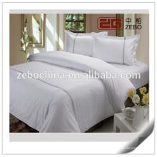Tejido de satén de algodón de alta calidad con bordado Logo White Hotel Bedding
