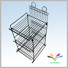 Customized small 3 tiers display stand metal wire bottle can display rack