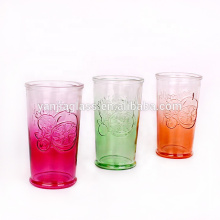 Fancy 650ml spray color embossed glass juice cup glass water cup