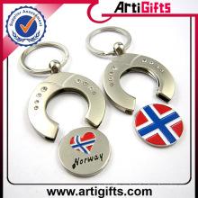 Llavero en blanco personalizado de la moneda del carro de compras del metal con su logotipo