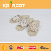 summer natural linen confortable spa slippers wholesale
