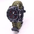 Relógio de sobrevivência ajustável paracord pulseira