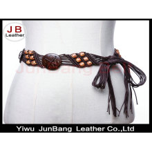 Sabor clásico étnico de madera de fantasía perlas cinturón
