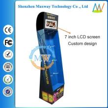 display de cartão de chão com tela LCD de 7 polegadas