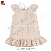 Classic style ruffle dress linen&cotton for school girls