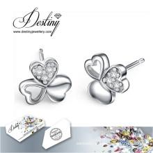 Destino joias cristais de Swarovski brincos coração 3 brincos