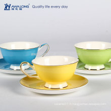 Pure Color Hotel Occasion Rim Round Shape Fine Bone China Tea Cup et Ensembles de soucoupe, tasse avec coaster Attaché