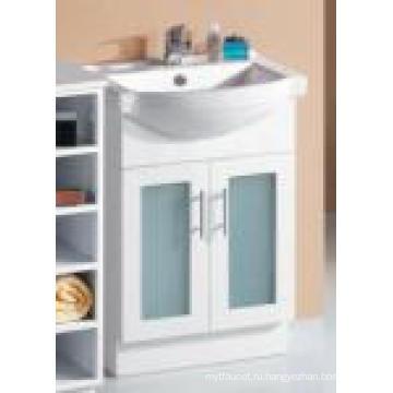 Современная сантехника глянцевый Белый МДФ с деревянным шкафчиком со стеклянной дверью (P392-600Г)