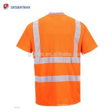 Camisetas de estilo de manga corta 100% poliéster Camisetas de seguridad reflexivo naranja