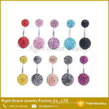 Mode gros ventre corps bijoux strass Shamballa Ball Safe Belly Button Anneaux