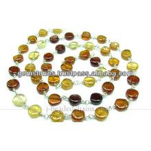 Chaîne en perles de pierres précieuses en argent lisse et coloré, gros fabricant de bijoux en gemme