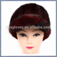 New Lady Burgundy Mink Fur Peaked Caps