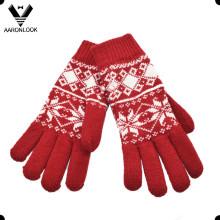 Женщины Мода акриловые Снежинка Pattern жаккардовые перчатки