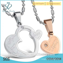 Beautiful jewelry stainless steel silver rose gold two piece heart necklace for couples